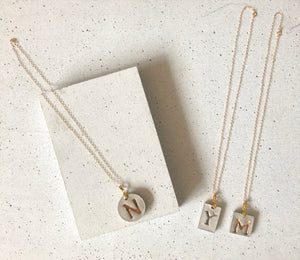 Concrete Initial Necklace