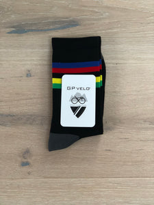 GP Velo - Performance Socks. Rainbow Champ. Black
