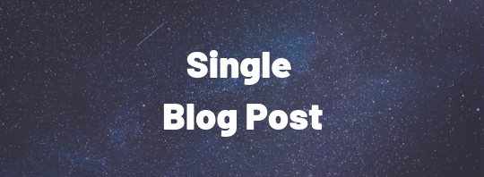 Single Blog Post
