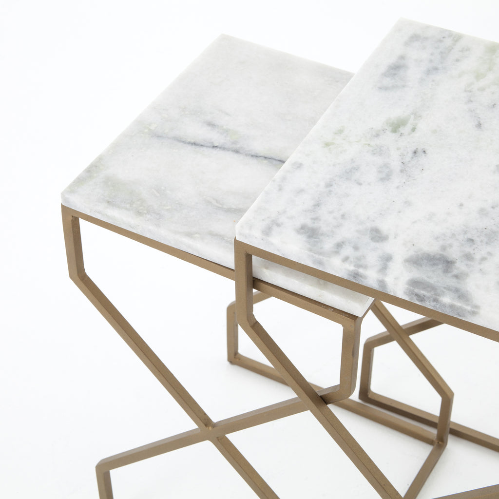 DENNI NESTING TABLES-MATTE BRASS