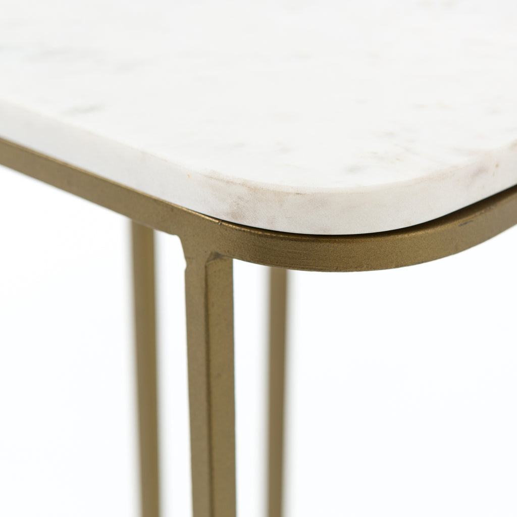 ADALLEY C TABLE-POLISHED WHITE MARBLE