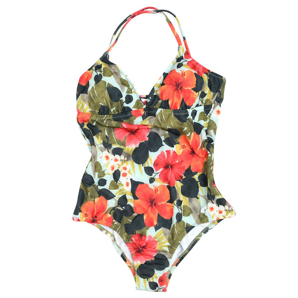 W's One Piece Triangle Cup Swimsuit - Hibiscus Palm - jamsworld.com
