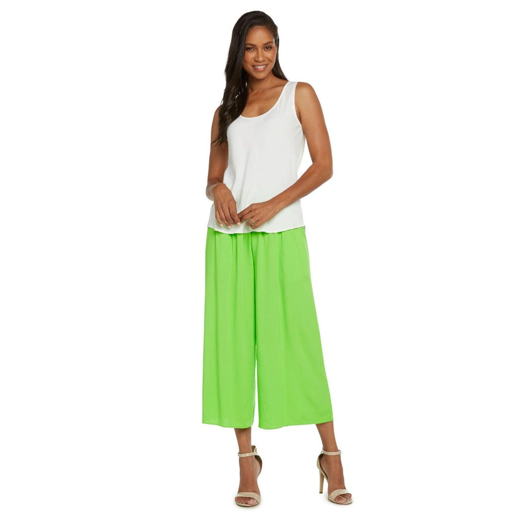 Solid Wide Leg Crop - Wasabi