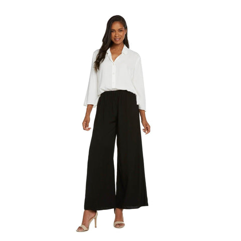 Solid Wide Leg Pants - Black