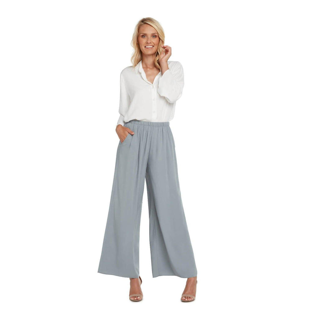 Solid Wide Leg Pants - Oyster - jamsworld.com