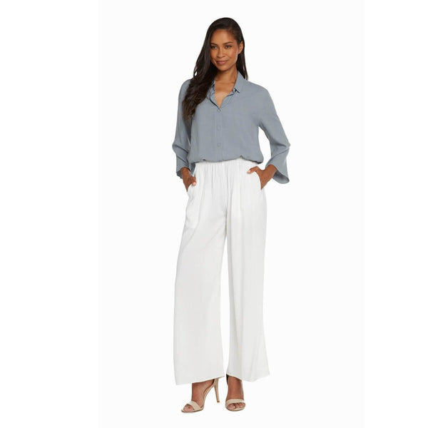 Solid Wide Leg Pants - White