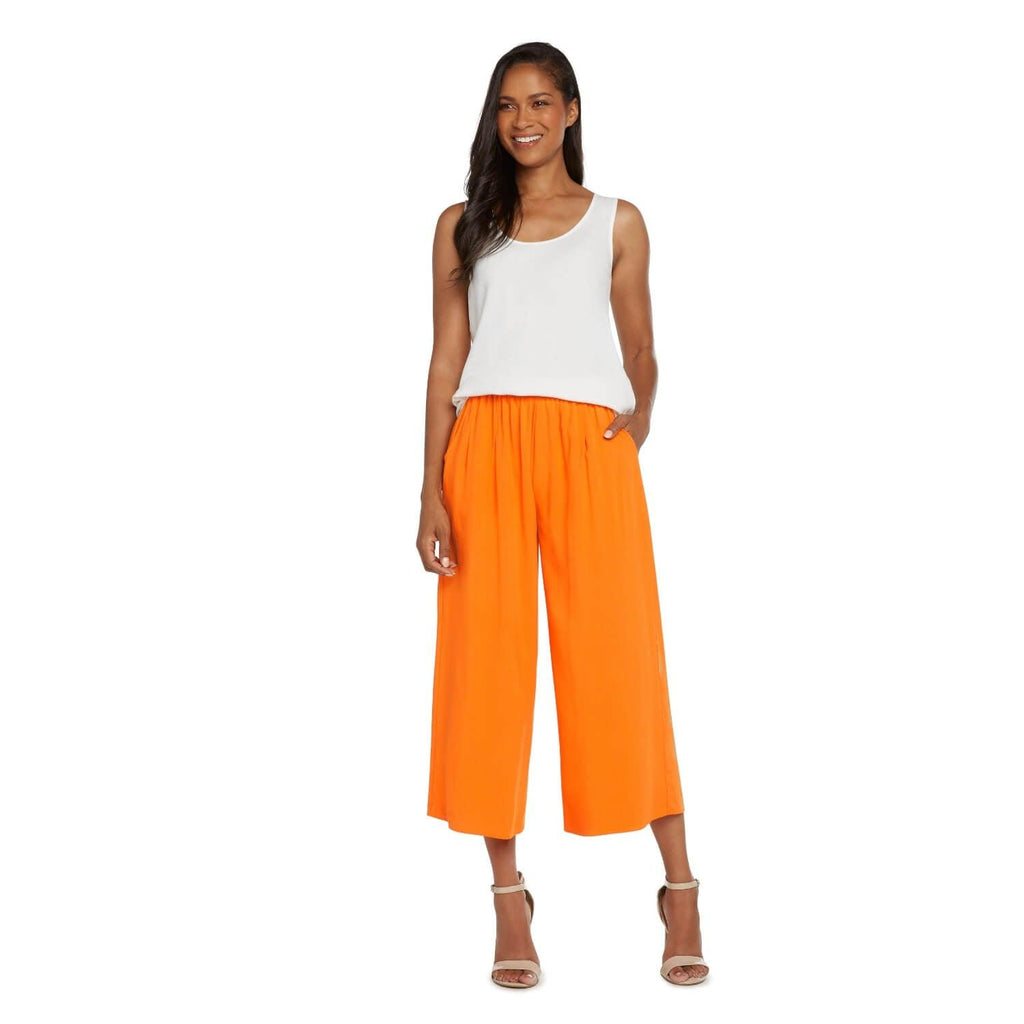 Solid Wide Leg Crop - Apricot