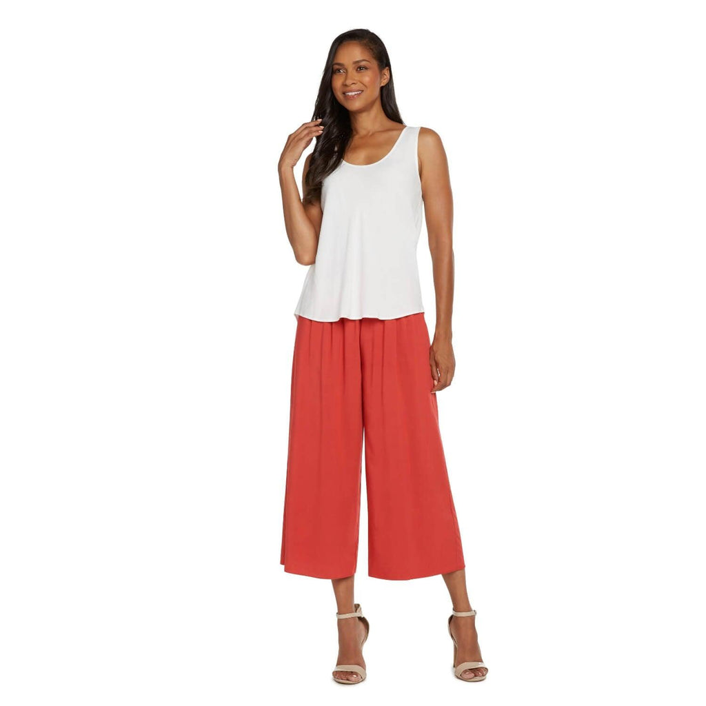 Solid Wide Leg Crop - Cardinal