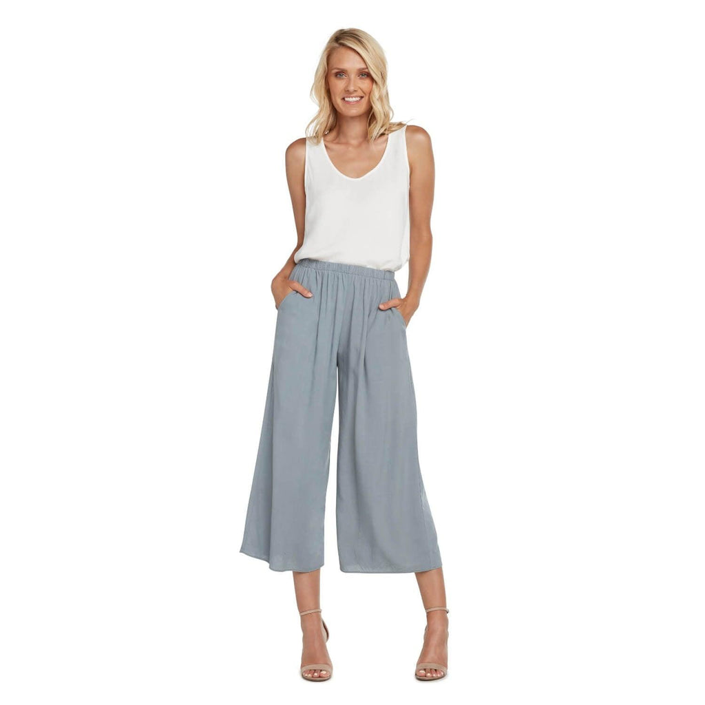 Solid Wide Leg Crop - Oyster - jamsworld.com