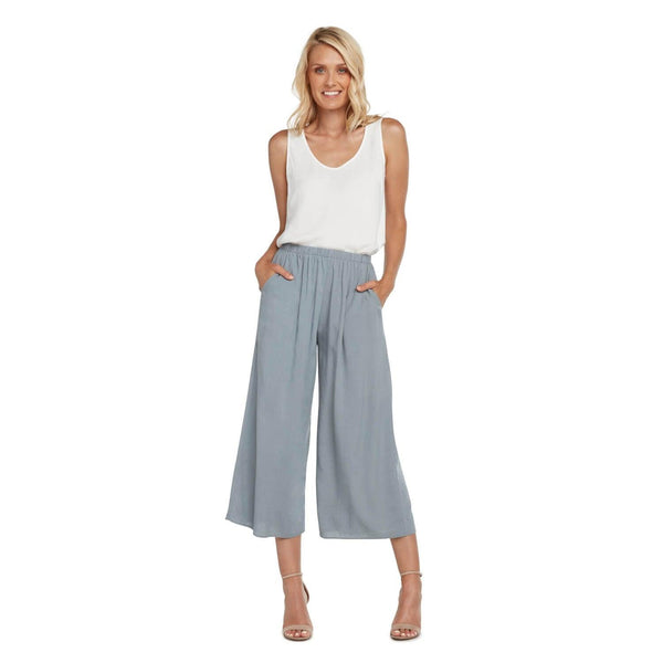 Solid Wide Leg Crop - Oyster