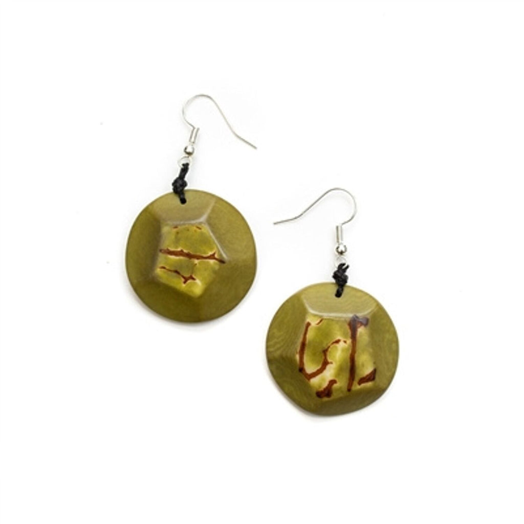 Tagua - El Sol Earrings Olive Green