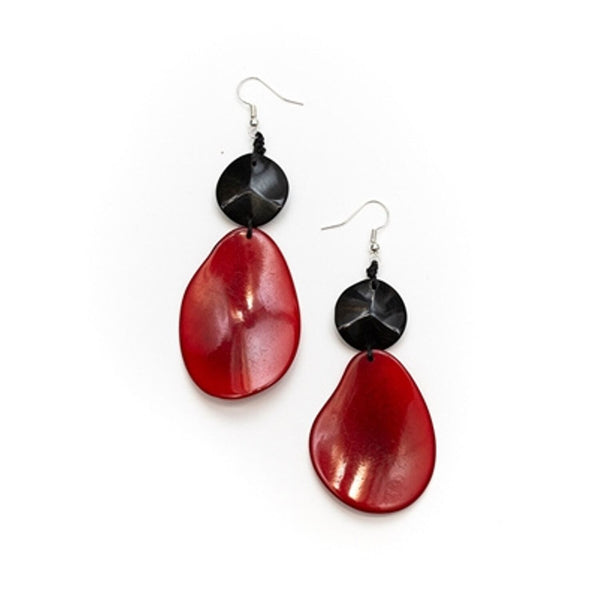 Tagua - Peggy Earrings Red Black