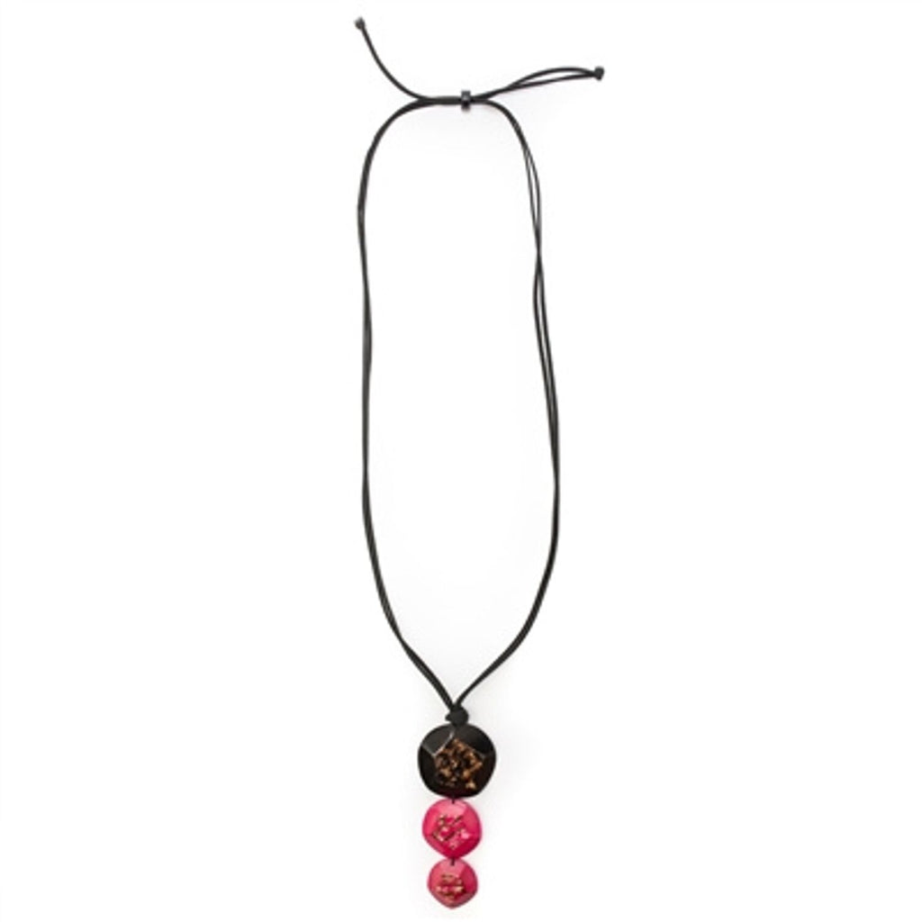 Tagua - El Sol Necklace Black Fuscia