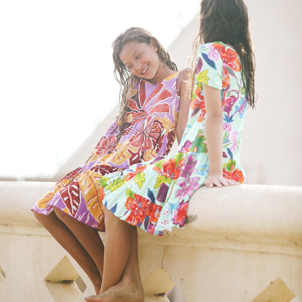 Girls:  XS(4/5) - L(12/14) Hattie Dress - Fiori Jade - jamsworld.com