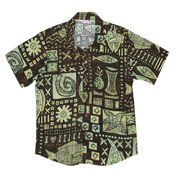 Boys Retro Shirt: XS(4/5 - L(12/14) - Anahola Brown - jamsworld.com