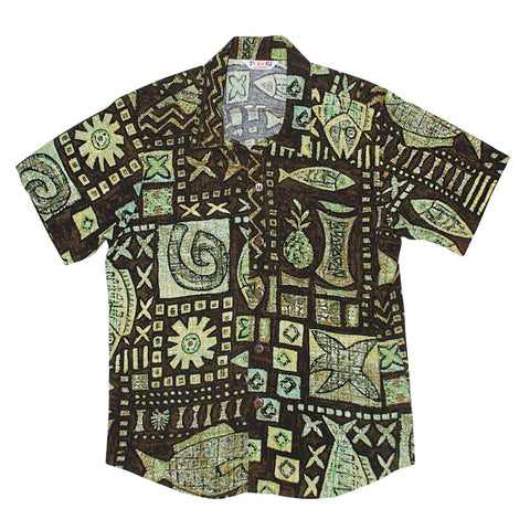 Boys Retro Shirt: XS(4/5 - L(12/14) - Anahola Brown