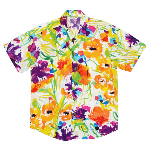 Boys Retro Shirt: XS(4/5 - L(12/14) - Flower Dream