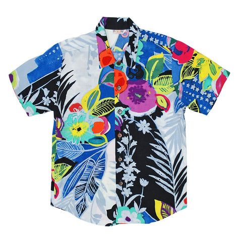 Boys Rayon Shirt: XS(4/5 - L(12/14) - Tropical Love