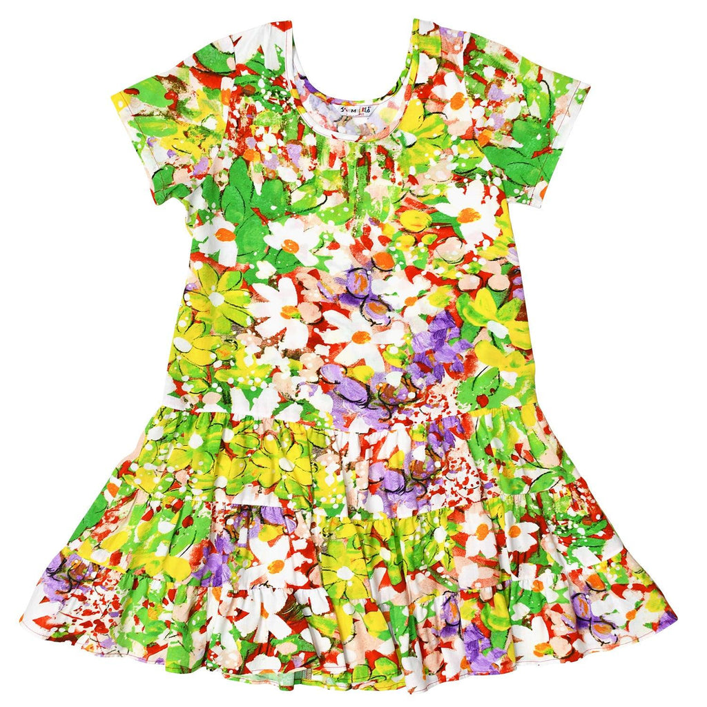 GIRLS' Hattie Dress: XS(4/5) to L(12/14) - Daisy Patch Red