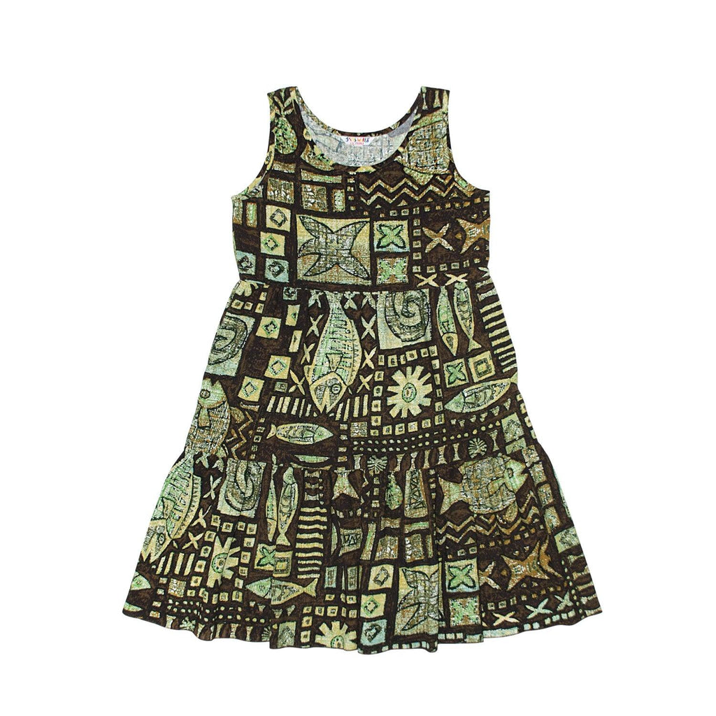 GIRLS Janice Dress  XS (4/5) - L (12/14) - Anahola Bay Brown - jamsworld.com