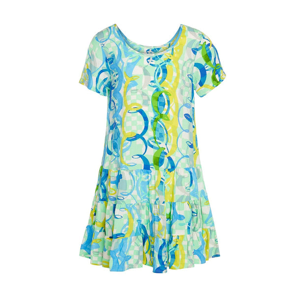 Girls Hawaiian Hattie Dress - Ocean Party : XS(4/5 - L(12/14) - jamsworld.com