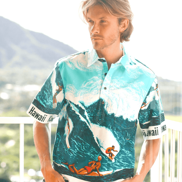Men's Cotton Pullover Shirt - Big Wave