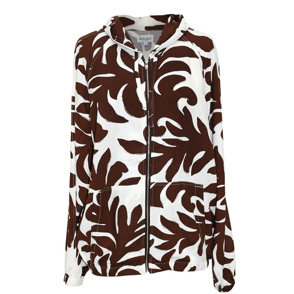 Parka Rayon Jacket - Brown & White