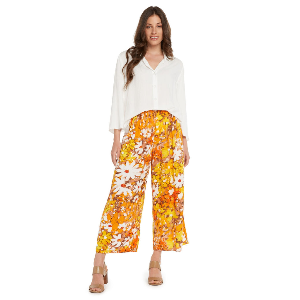 Wide Leg Crop Pant -Daisy Patch Brown