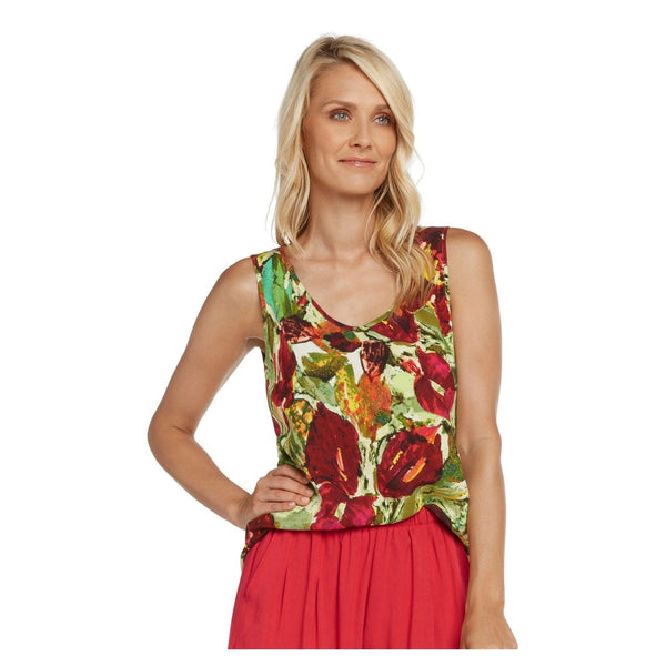 Hawaiian Print Tank Tops - Anthurium - jamsworld.com