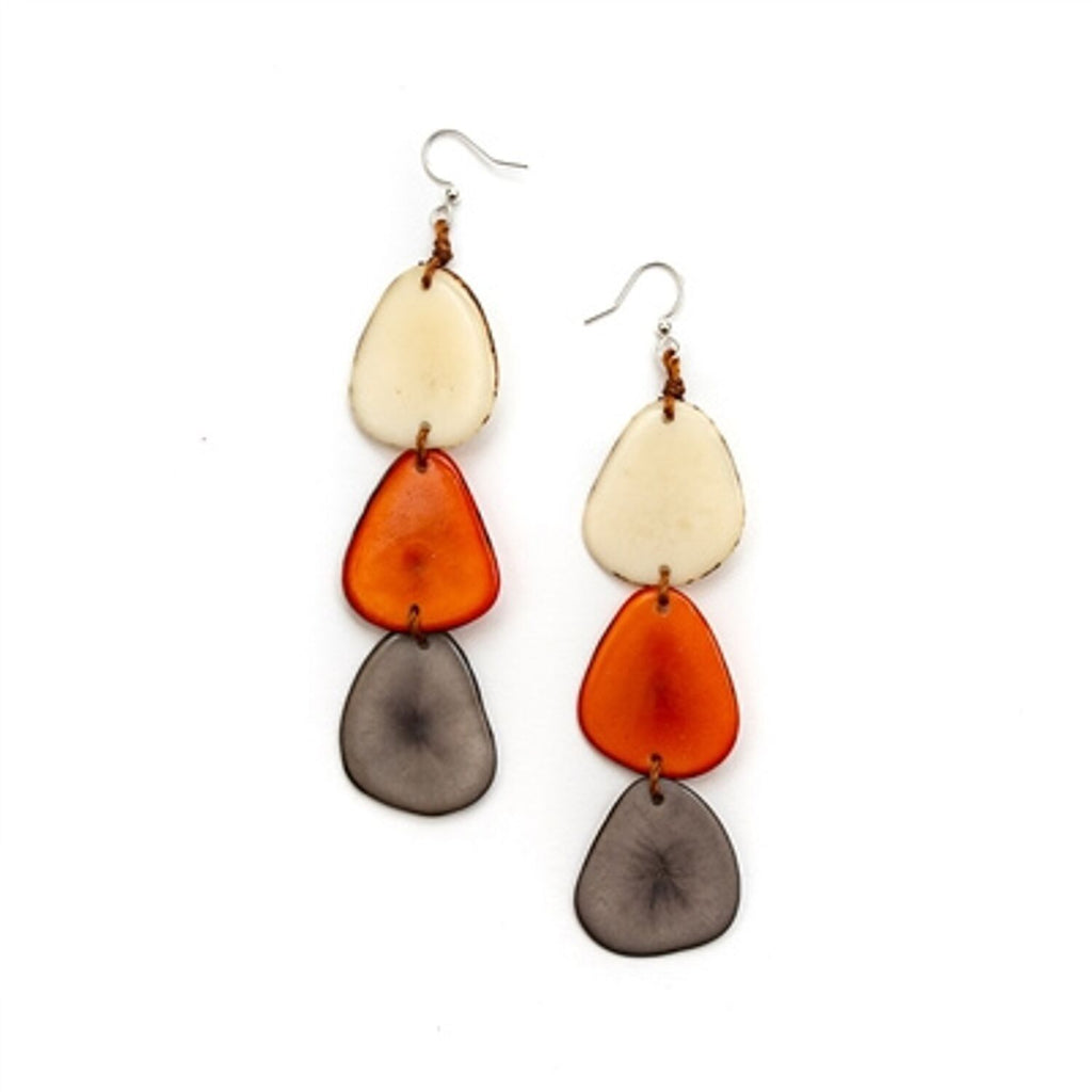 Tagua - Bali Earrings Orange Combo
