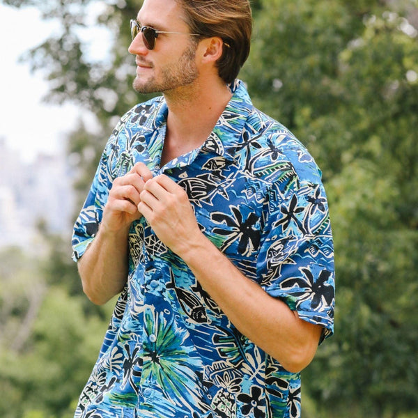 Men's Retro Shirt - Honu Island Blue