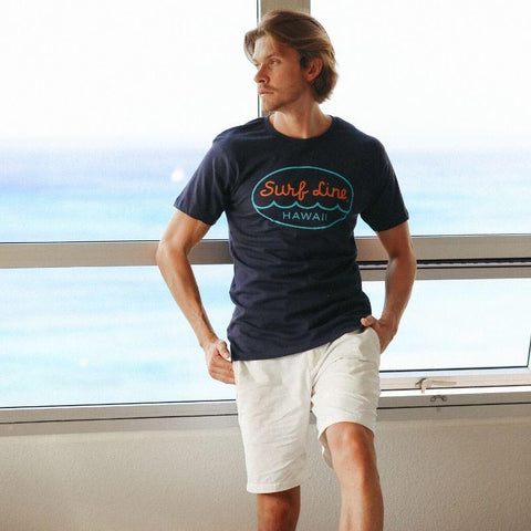 Surf Line Hawaii Oval Logo Tee Navy