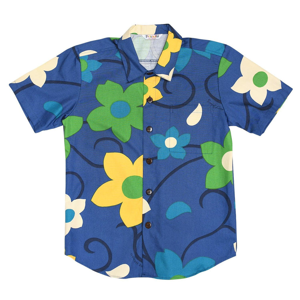 Boy's Cotton Shirt: XS(4/5) - L(12/14)- Sea Flower