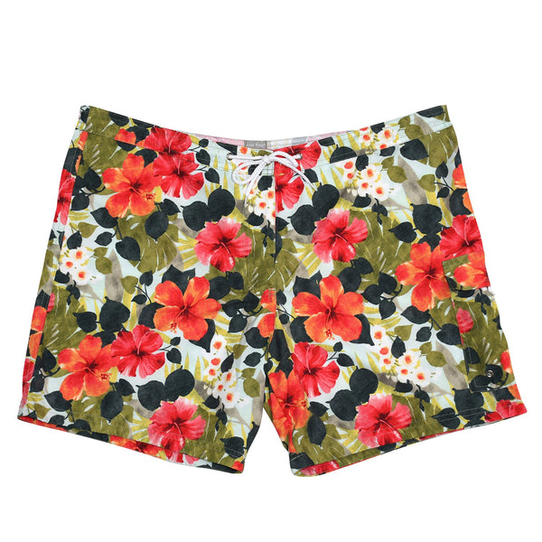 Women's Full Cut Boardshort - Hibiscus Palm - jamsworld.com