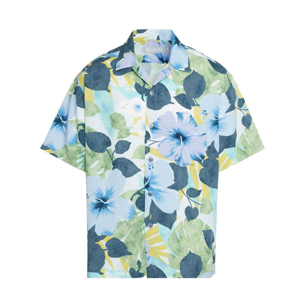 Men's Retro Shirt - Hibiscus Palm Indigo