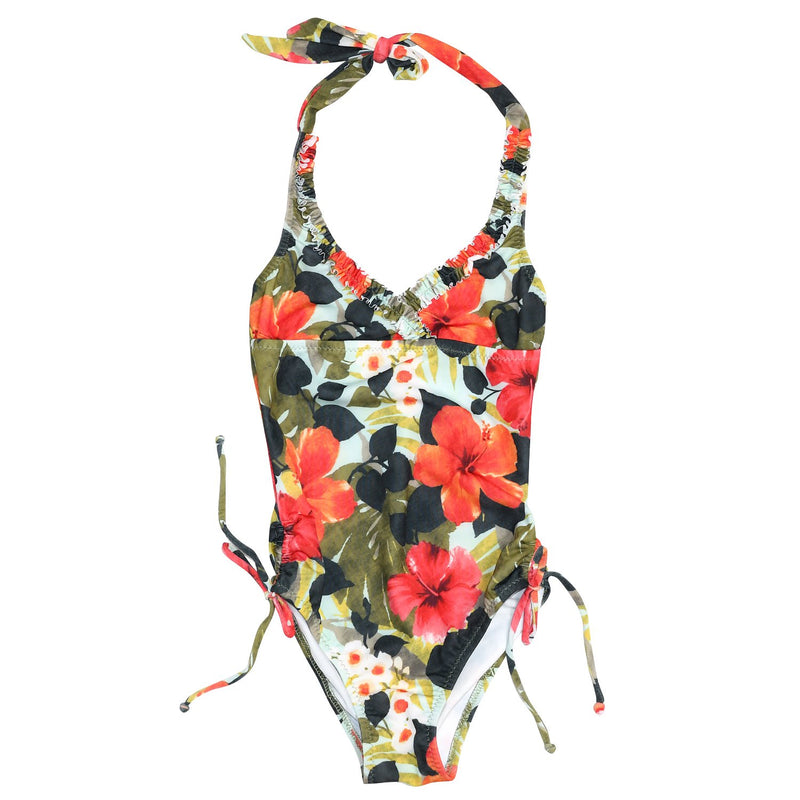 Little Girl Ruffle Halter One Piece Swimsuit - Hibiscus Palm - jamsworld.com