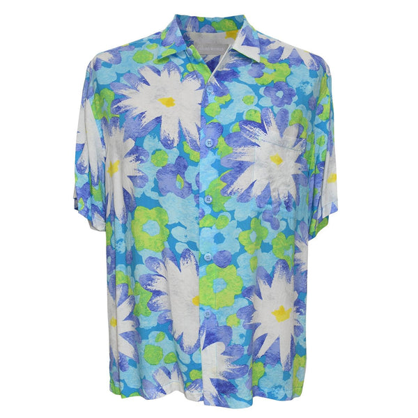 Men's Retro Shirt - Vintage Daisy Aqua
