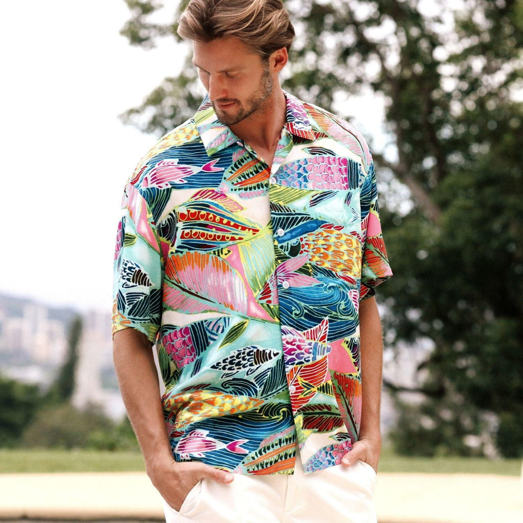 Men's Retro Shirt - Rainbow Bay - jamsworld.com