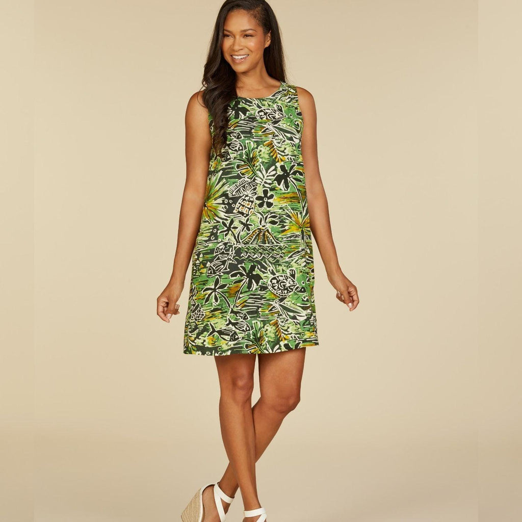 Jackie Dress - Honu Island Green