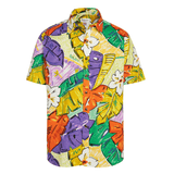 Men's Surf Line Hawaii Cotton Modern Fit Shirt - Tiki Leaf Purple