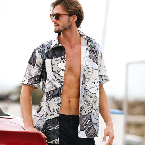 Men's Surf Line Hawaii Cotton Modern Fit Shirt - Tiki Leaf Gray - jamsworld.com