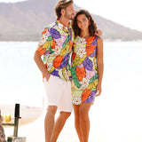 Men's Surf Line Hawaii Cotton Modern Fit Shirt - Tiki Leaf Purple - jamsworld.com