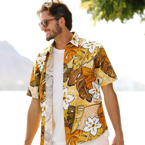 Men's Surf Line Hawaii Cotton Modern Fit Shirt - Tiki Leaf Brown - jamsworld.com