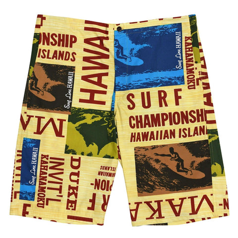 Makaha Long Short - Surf Contest Yellow
