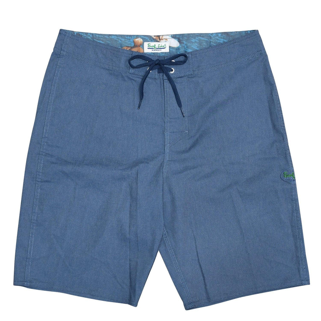 Men's Classic Solid Boardshort - Navy Big Wave - jamsworld.com