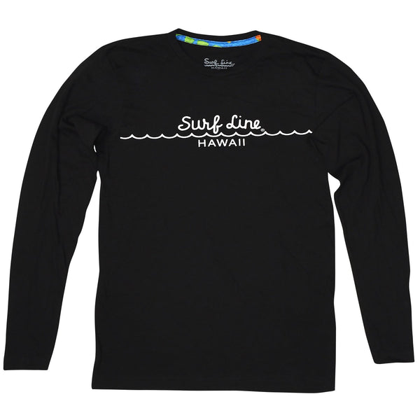 Surf Line Hawaii Long Sleeve Mini Wave Logo Tee - Black - jamsworld.com