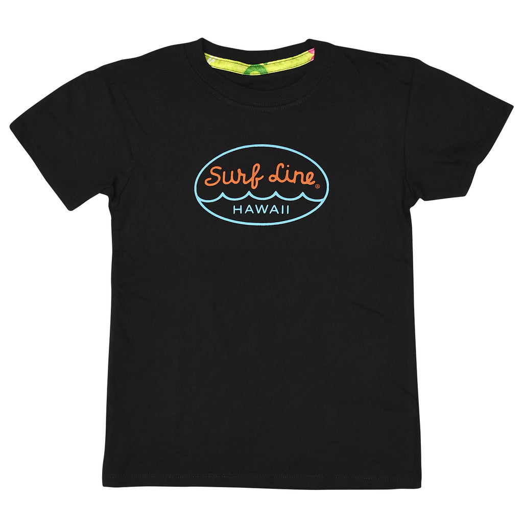 Kids Surf Line Hawaii Oval Logo Tee - Black - jamsworld.com