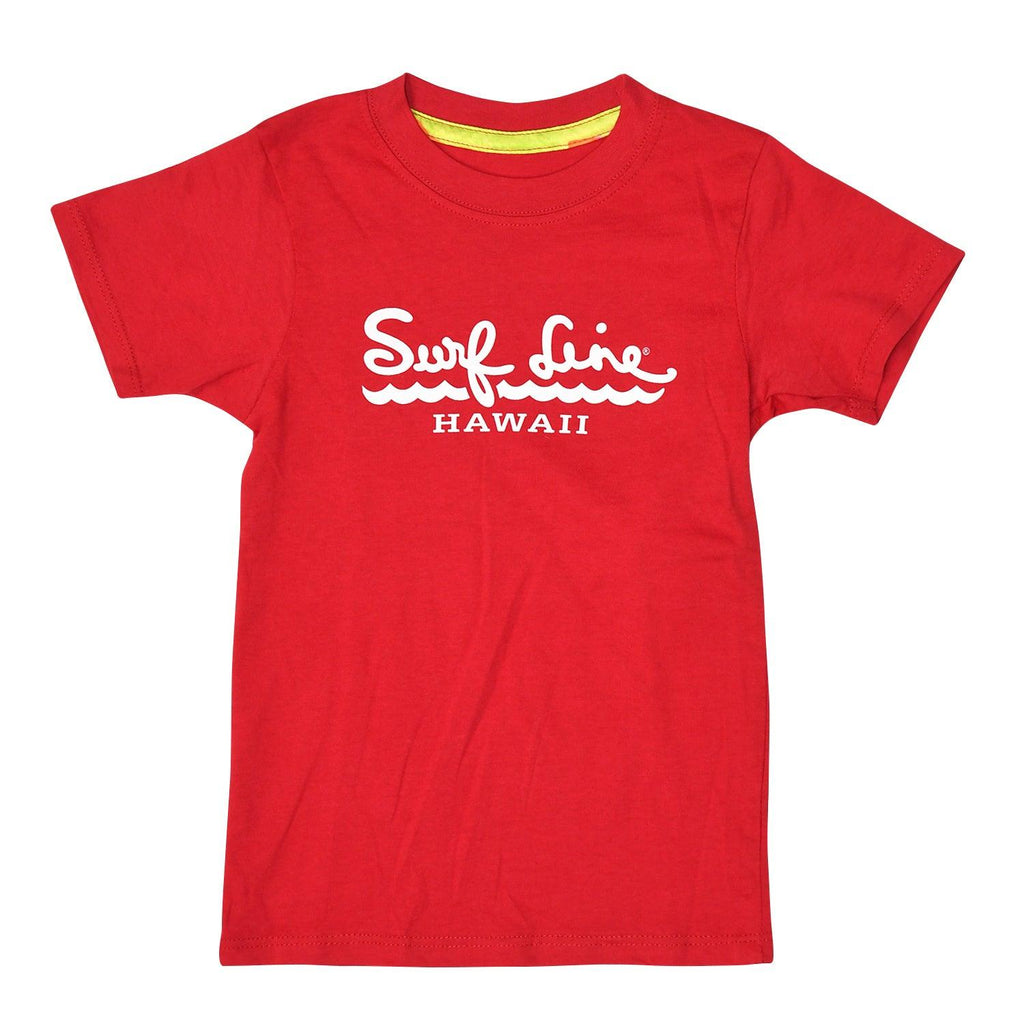 Kids Surf Line Hawaii Script Logo Tee - Red - jamsworld.com
