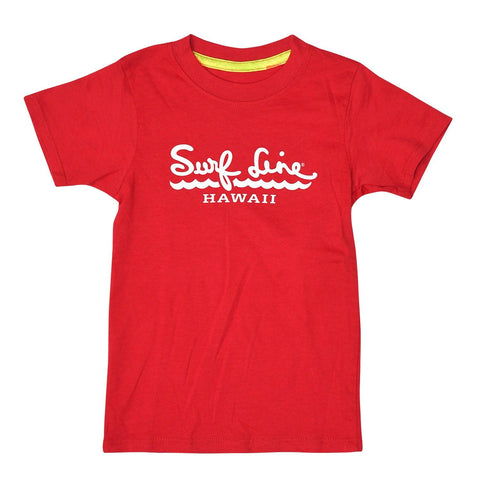 Kids Surf Line Hawaii Script Logo Tee Red