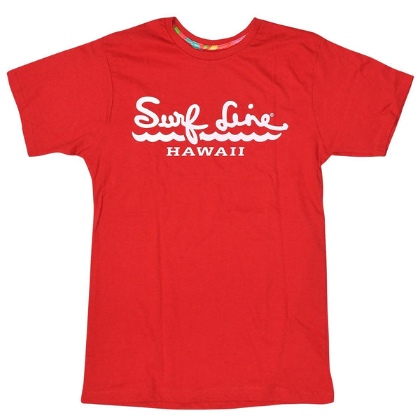Adult Surf Line Hawaii Script Tee - Red - jamsworld.com